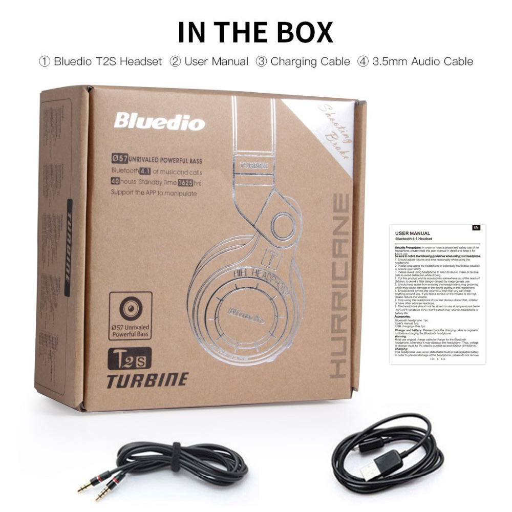 Casque Bluetooth sans fil Bluedio Turbine T2 avec micro, pilotes 57mm/pliage rotatif - 6