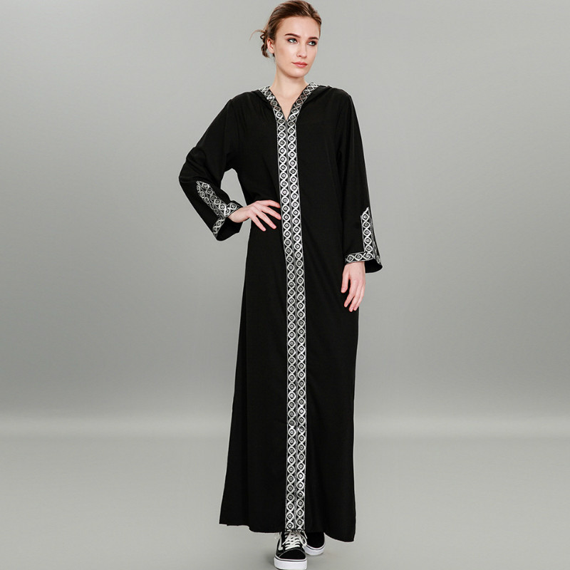 TUHAO 2018 Autumn Winter Muslim Dress Black Hooded Woman Loose Plus Size 7XL 6XL 5XL Sexy Split Fork Maxi Long Dresses CM173