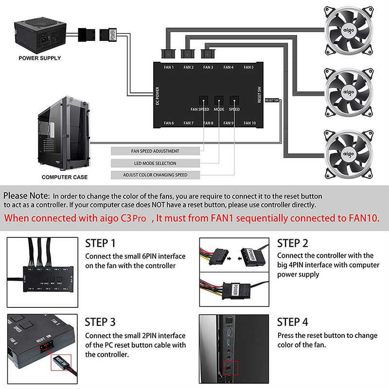 Aigo dark flash أورورا C5 عدة علبة الكمبيوتر مروحة RGB LED 120 مللي متر مراوح التبريد ضبط ملون الكمبيوتر وحدة المعالجة المركزية وحدة معالجة خارجية للحاسوب تبريد المبرد المبرد