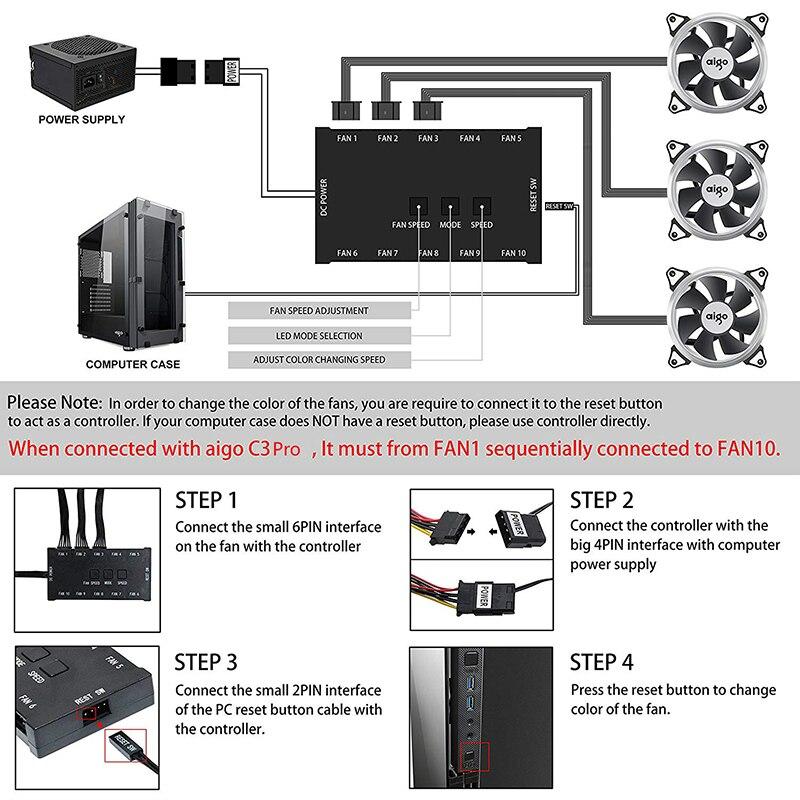DarkFlash Aigo C3 coque d'ordinateur PC ventilateur de refroidissement Aura Sync 3 P-5 V ventilateurs RGB ajuster 120mm silencieux IR refroidisseur à distance ventilateur de boîtier de LED de refroidissement - 3