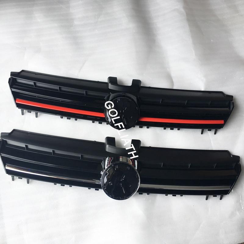 For VW Golf MK7 R badge Front Center Grille Black Chrome ABS Radiator Hood Upper Grill for golf 7 / GTI/ R
