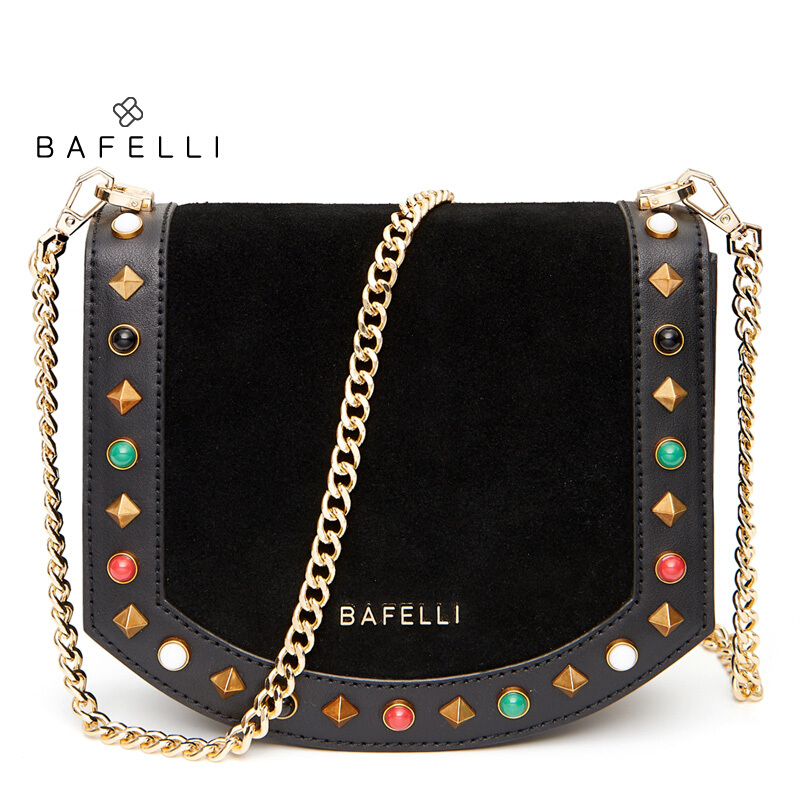 BAFELLI split leather cowhide bag frosted suede colored rivets bolsos mujer chains crossbody bag Burgundy women messenger bags bafelli women shoulder bag split leather chains for women crossbody bag bolsos mujer mint green pink womens messenger bag