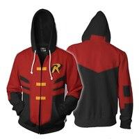 New Hoodies Men Women Red Robin Tim Drake Cosplay 3D Print Hoodie Jacket Zipper Casual Sweatshirts