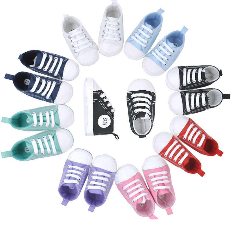 Zapatillas deportivas clásicas de lona para recién nacidos, bebés y niñas, zapatos para caminar, zapatos antideslizantes de suela suave para niños pequeños
