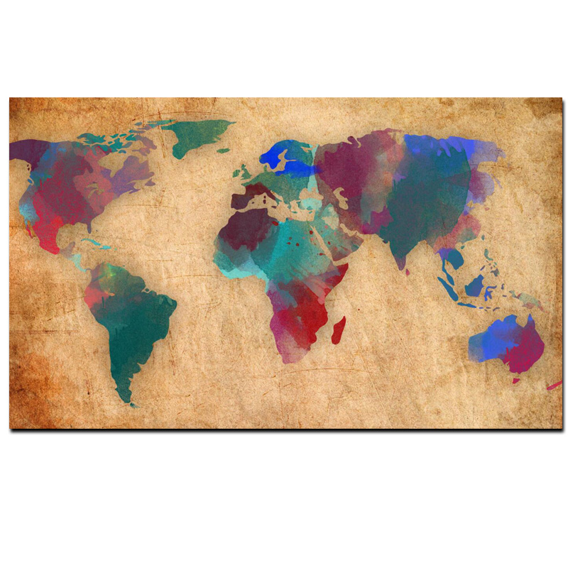 Abstract 3d watercolor world map canvas painting retro globe maps hd abstract 3d watercolor world map canvas painting retro globe maps hd print on canvas for office room wall picture cuadros decor in painting calligraphy gumiabroncs Choice Image