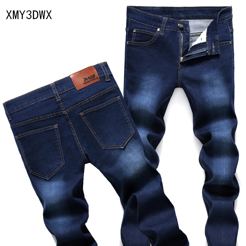 Summer stretch men and women jeans mens straight mens trousers casual pants spring and autumn thin section of the foot wave