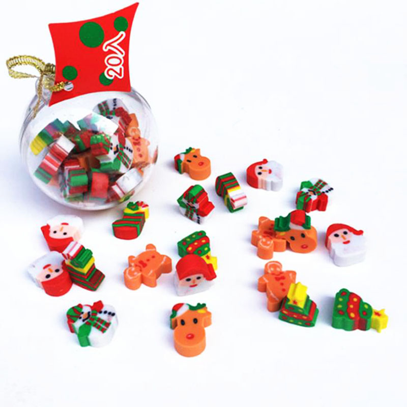 20Pcs/Set Kawaii Christmas Eraser Mini Christmas Ball Erasers New Year Christmas Gifts To Children Students School Stationery