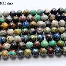 Meihan atacado (1 fios/conjunto) 6.8 7mm natural a + crisocolla suave redonda solta contas para fazer jóias design