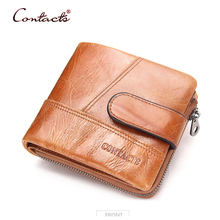 CONTACT'S Men Wallet Genuine Cowhide Leather Purse Male Wallets Card Holder Photo Coin Pocket Sac Purses Brand 2017 New Designer