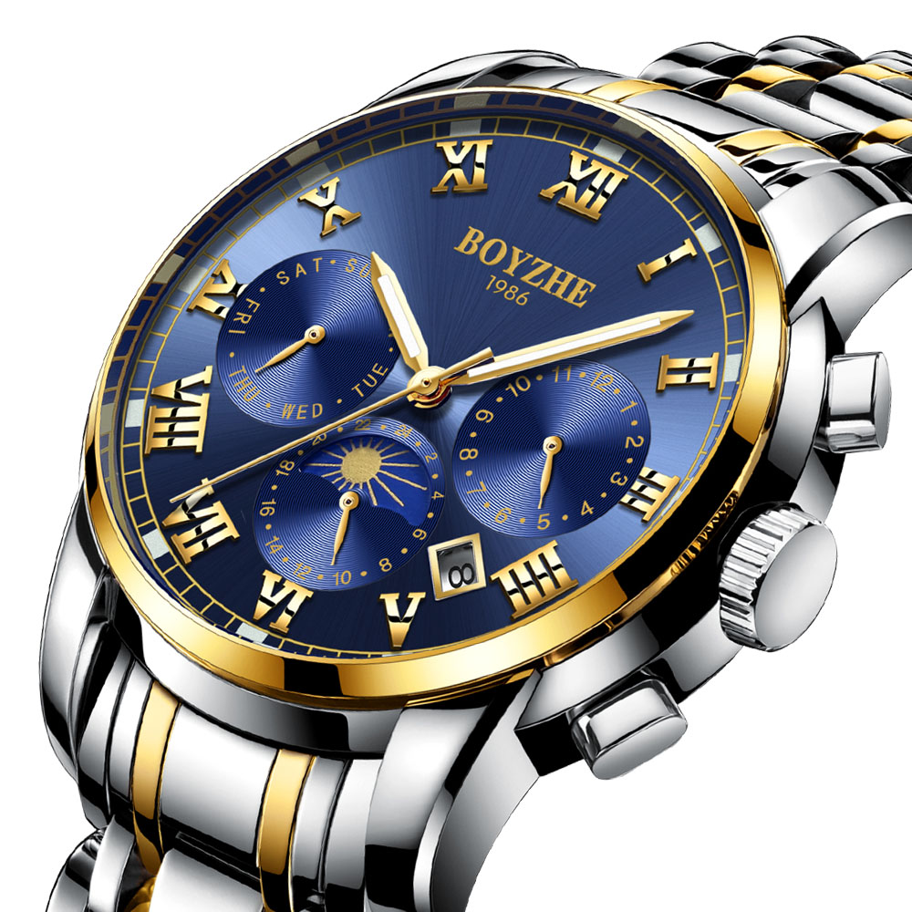 Fashion Mechanical Watch Men Top Brand Luxury Stainless Steel Automatic Business Watch Men Clock Moon Phase relogio masculino
