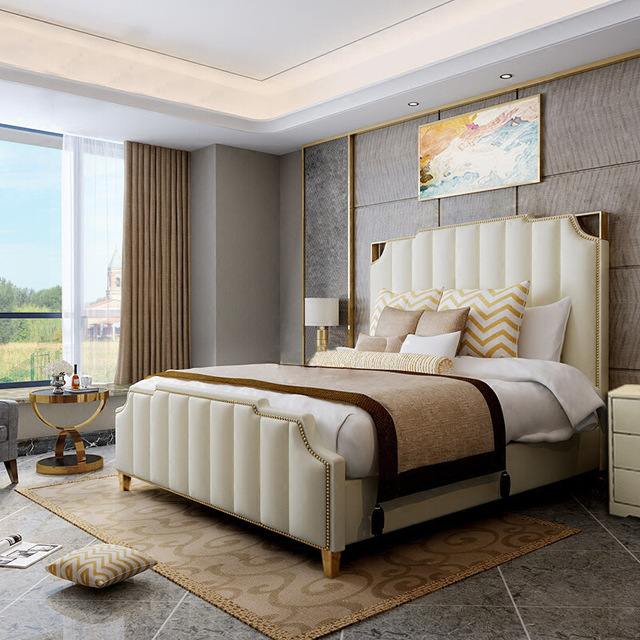 US $110.6 30% OFF|Factory direct post modern light luxury simple leather  bed bedroom furniture 1.8 1.5 bed size apartment double bed-in Beds from ...