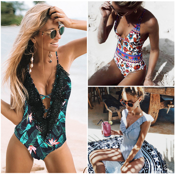Ashgaily 2019 New One Piece Swimsuit Sexy Cartoon Printed Swimwear Women Bathing Suit Beach Backless Monokini Swimsuit Female