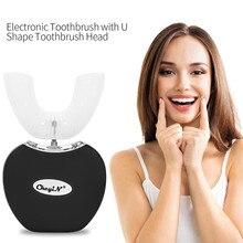 Беспроводной электрические зубные щётки автоматический ультразвуковой волновая зубная щетка водостойкие силиконовые U образный с зарядным база 0