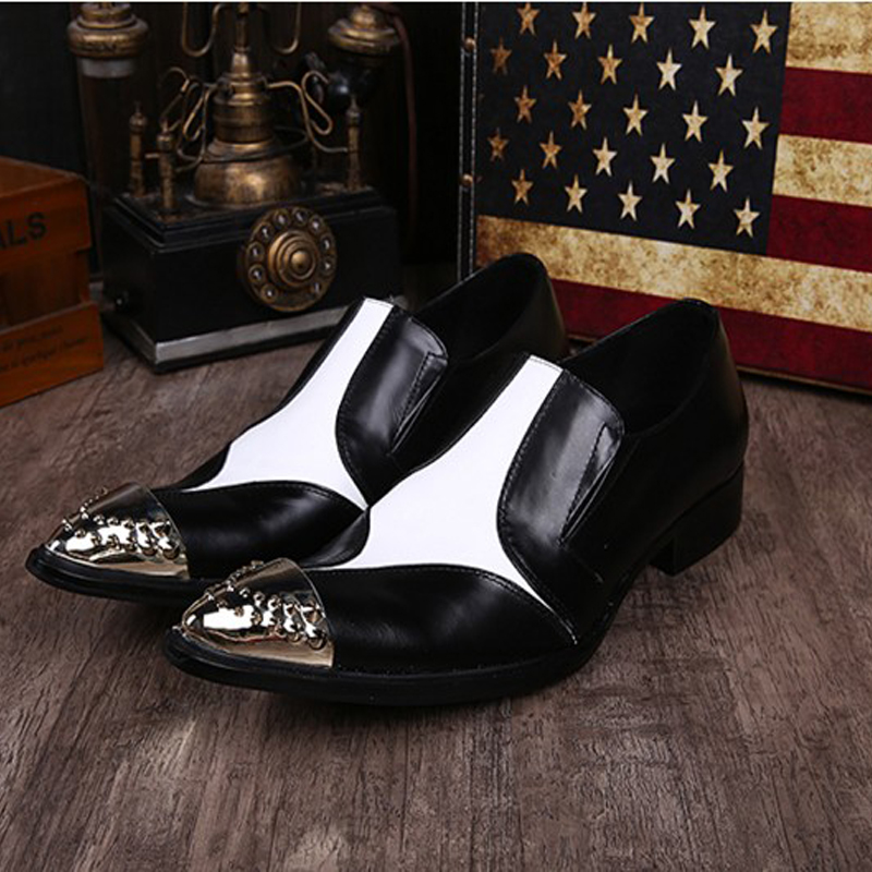 Luxury Genuine Leather Wedding Shoes Pointed Toe Black White Dress Shoes Men Chaussure Homme Casual Loafers Formal Business Shoe mycolen men formal shoes luxury business dress shoes full leather pointed toe loafers men wedding leather shoe black moccasins