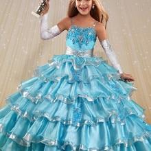 Яркое платье с цветочным узором для девочек, детское бальное платье принцессы для торжеств, вечерние, для танцев, свадьбы, дня рождения
