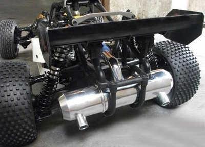 Aluminium Semua Lubang Ganda Power Lifting Pipa Knalpot untuk HPI Km Rovan Baja 5B 5 T 5SC