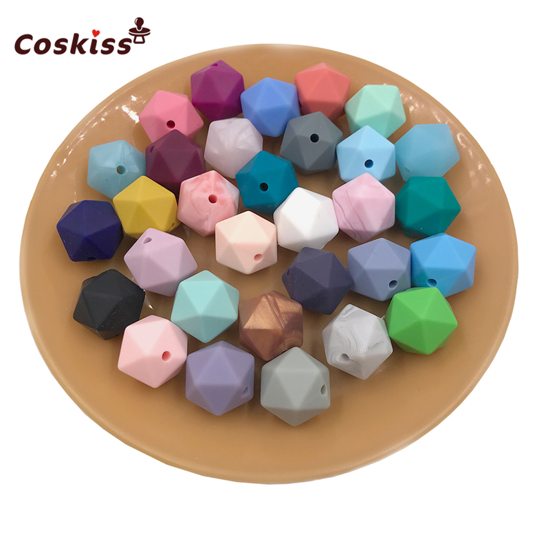 10pc Mix Color BPA Free Food Grade 17mm Multi-faceted Geometric Polygon Silicone Beads Chew Soft Baby Silicone Teething Beads