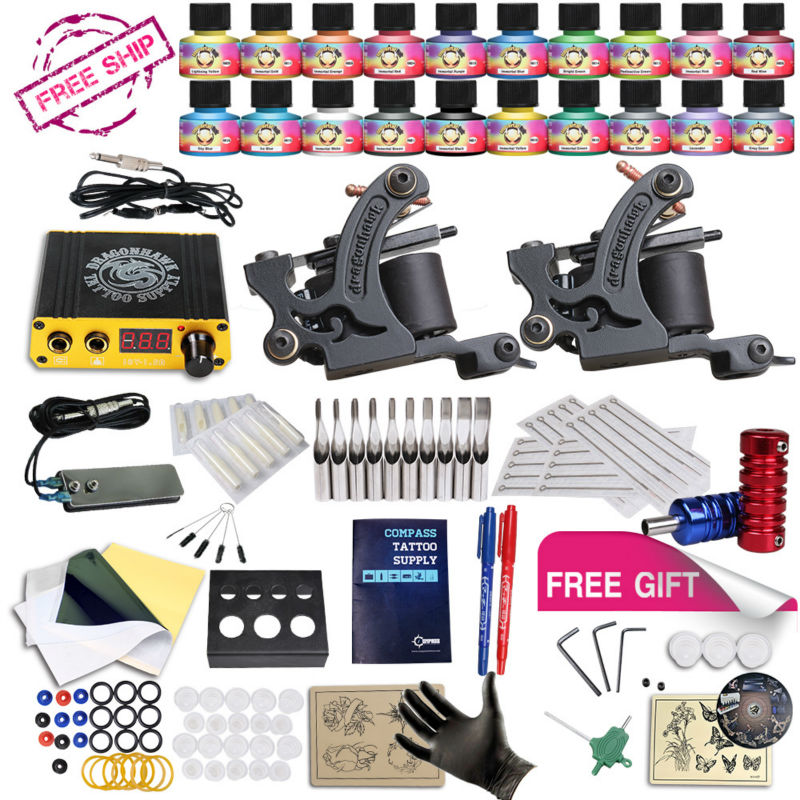 ФОТО Free Ship DIY 2 Tattoo Machine Complete Kit  20 Color USA Tattoo Inks Tattoo Power Supply With Free gift