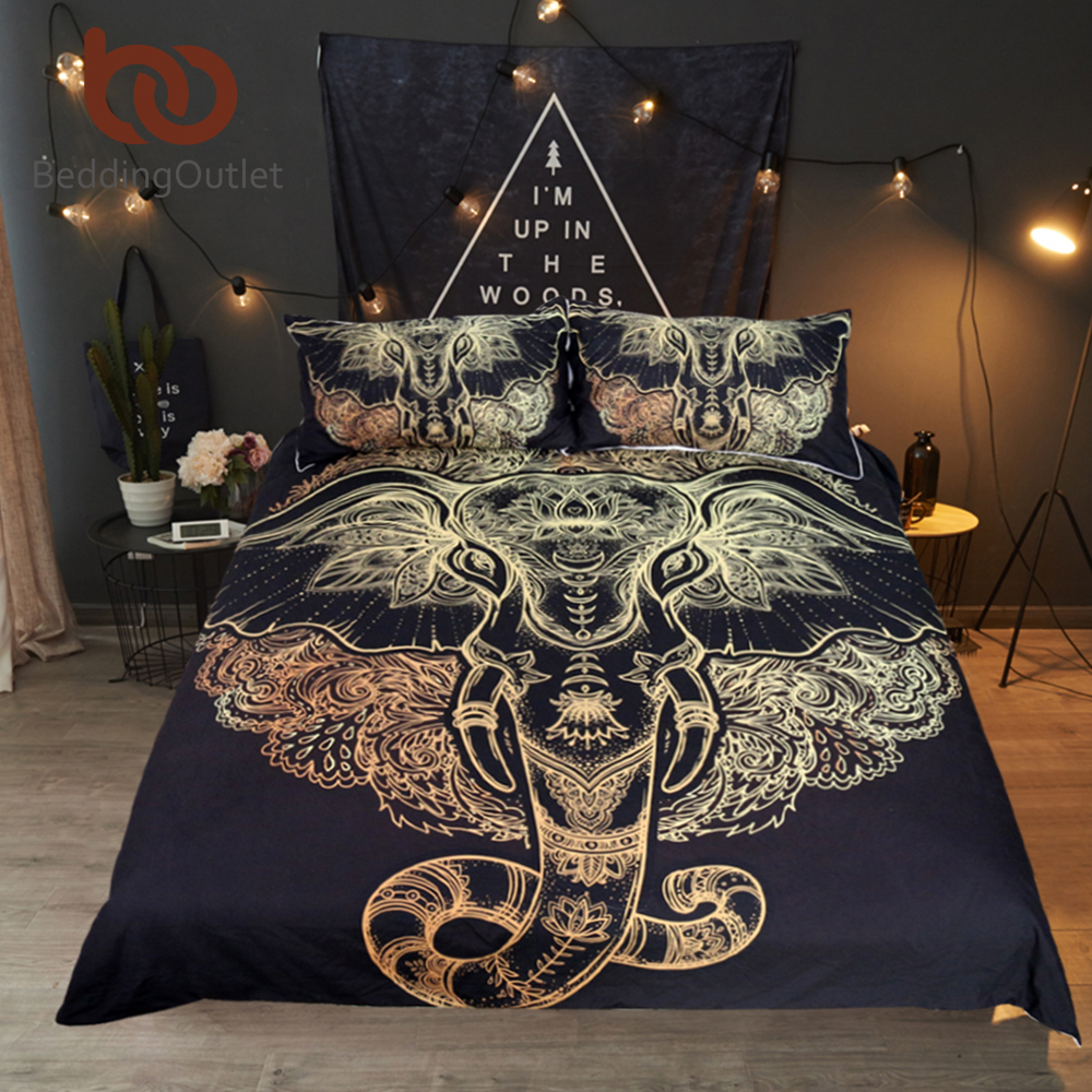 BeddingOutlet Tribal Elephant Bedding Set Boho Mandala Golden Design Ethnic Indian God Duvet Cover Indian Symbol Bed Set