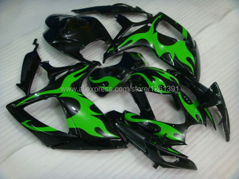 Инъекции для SUZUKI K6 06 07 зеленый пламя в черном цвете GSXR750 GSX-R750 GSXR 750 2006 2007 GSXR-750 обтекателя Кузов