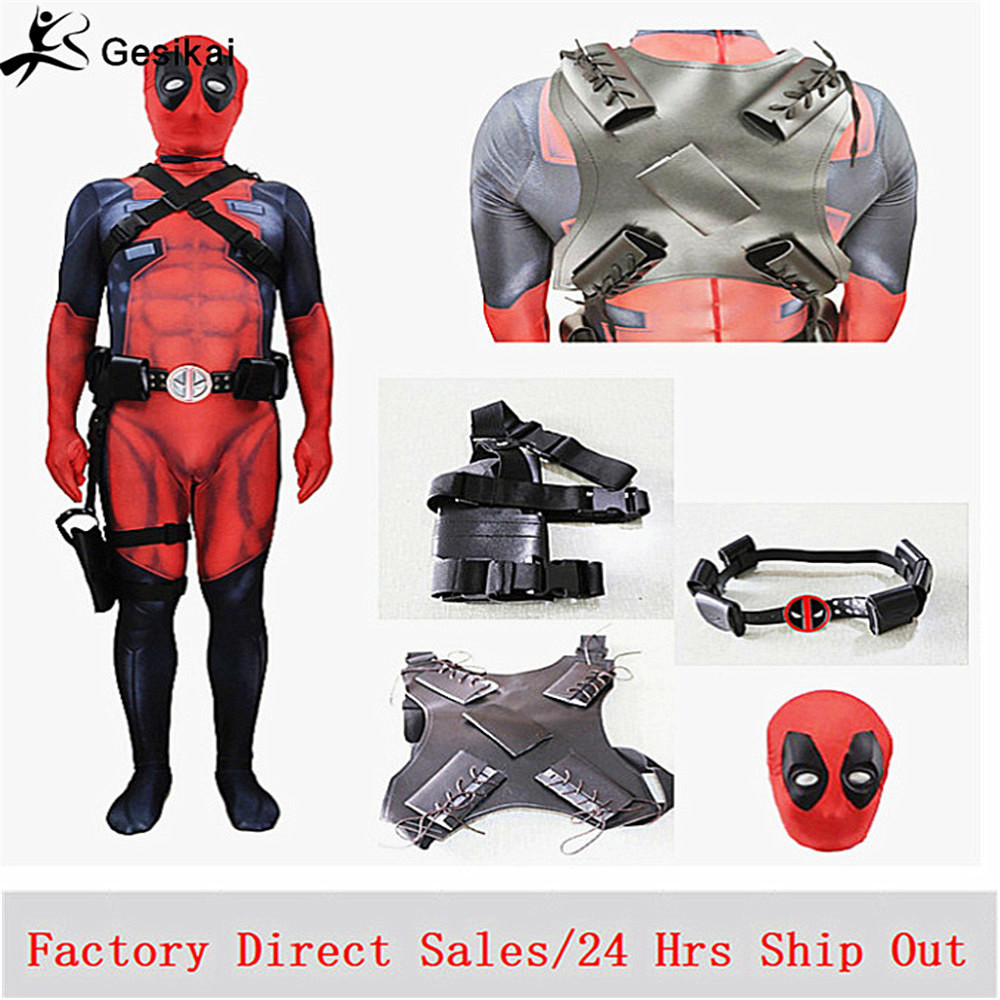New Deadpool Costume Adult Man Boys Spandex Lycra Zentai Bodysuit Halloween Cosplay Suit <font><b>Belt</b></font> Headwear Mask Gun holster image