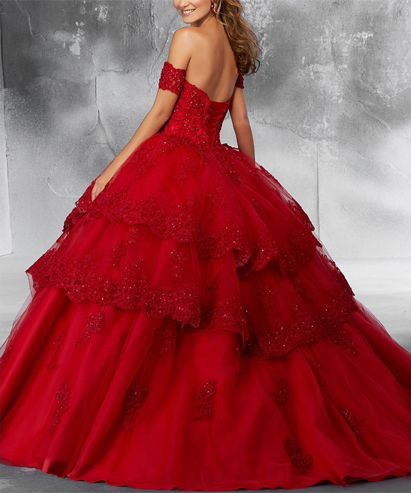 Image 2 - JaneVini Luxury Princess Ball Gown Red Quinceanera Dresses Sweetheart Appliques Heavy Beaded Pageant Prom Gowns Vestidos 15 AnosQuinceanera Dresses   -