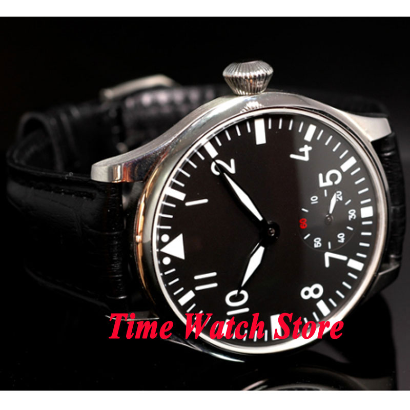 44mm Parnis black sterial dial luminous 6498 mechanical hand winding movement Men's watch P33