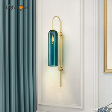 Nordic creative blue and white glass tube wall light living room bedroom hotel lobby copper color wall lamp
