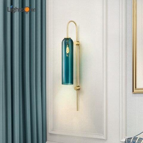 nordic criativo tubo de vidro azul e branco luz parede sala estar quarto lobby do