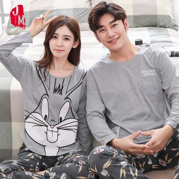 Couple Pajamas Set Spring And Autumn 100% Cotton