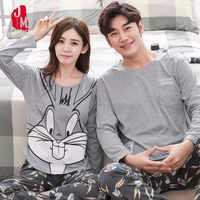 Conjunto de pijama de casal primavera e outono 100% algodão dos desenhos animados das mulheres pijamas plus size M-3XL manga comprida pijamas