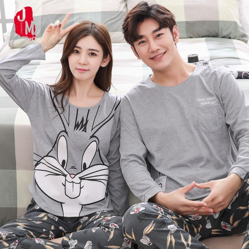 Couple Pajamas Set Spring And Autumn 100% Cotton Cartoon Women Pyjamas Plus Size M-3XL Long Sleeve Sleepwear Men Lounge Pijama