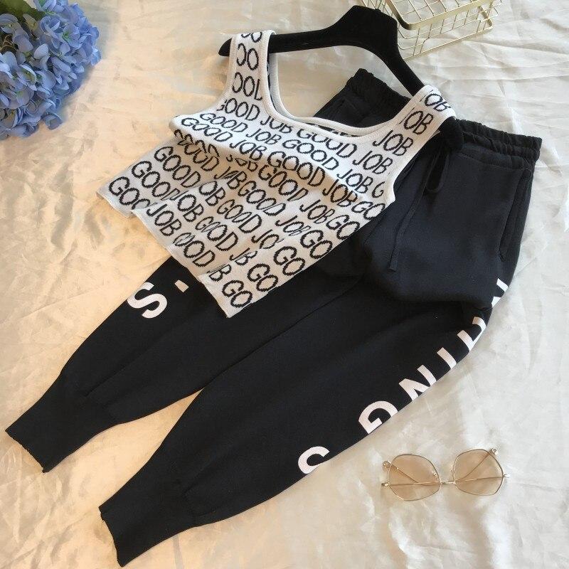 New 2019 Women Summer Knit Tracksuit Print Letters Tank Tops + Casual Ankle-Length Pants Sets Knitting Vest Crop Top 2 PCS Sets