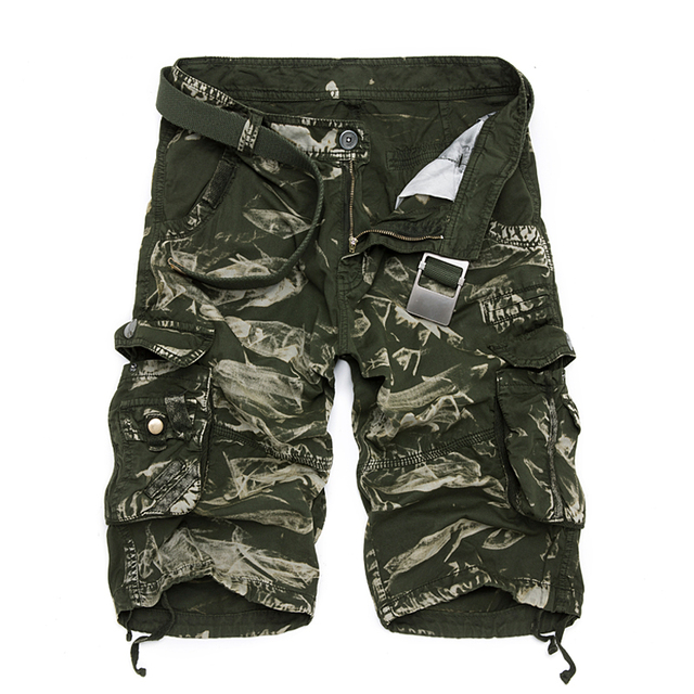 New 2018 Men Cargo Shorts Casual Loose Short Pants Camouflage Military Summer Style Knee Length Plus Size 10 Colors Shorts Men 4