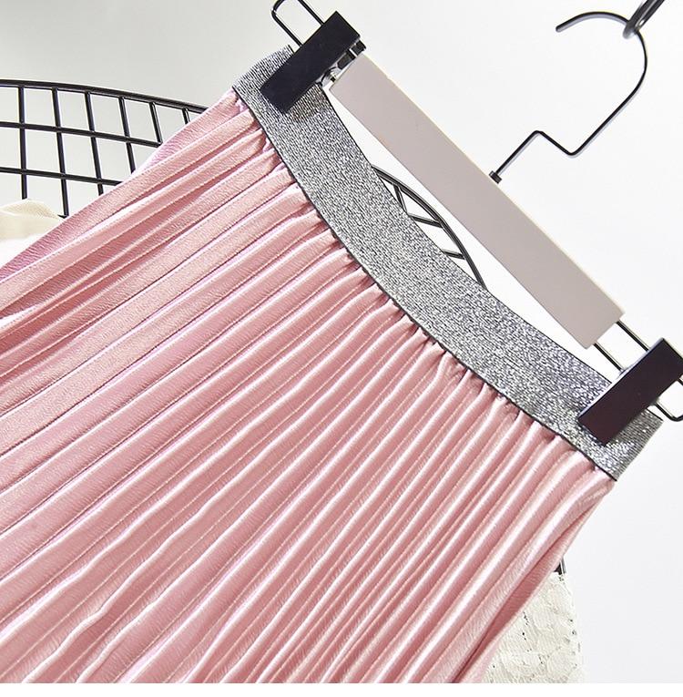 Stretch High Waist Long Pleated Skirt 28