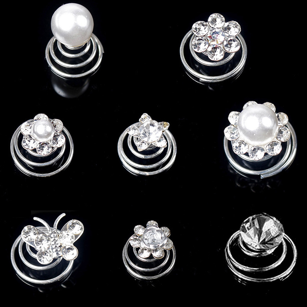 12pcs Women/Bride Crystal Spiral Hairpin Rhinestone Hair Clips Accessories For Party Wedding