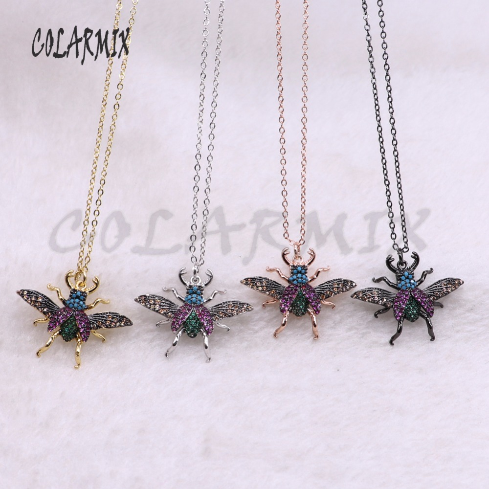 5 strands fly bugs necklace bees necklace for lady insect pendants small size jewelry 18 mix color necklace pets beads 3749