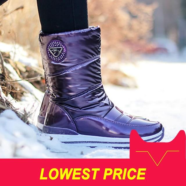 Женские ботинки высокого качества, Новое поступление 2018, непромокаемые зимние ботинки на толстом меху, Нескользящие женские зимние ботинки...