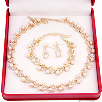 Free Shipping 2014 Classic Imitation 3pc Gold Plated Clear Crystal Top Elegant Party Gift Fashion Pearl