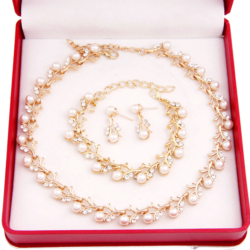 Hot Worldwide Imitation Pearl Simple Elegant Bridal Jewelry Sets Kit