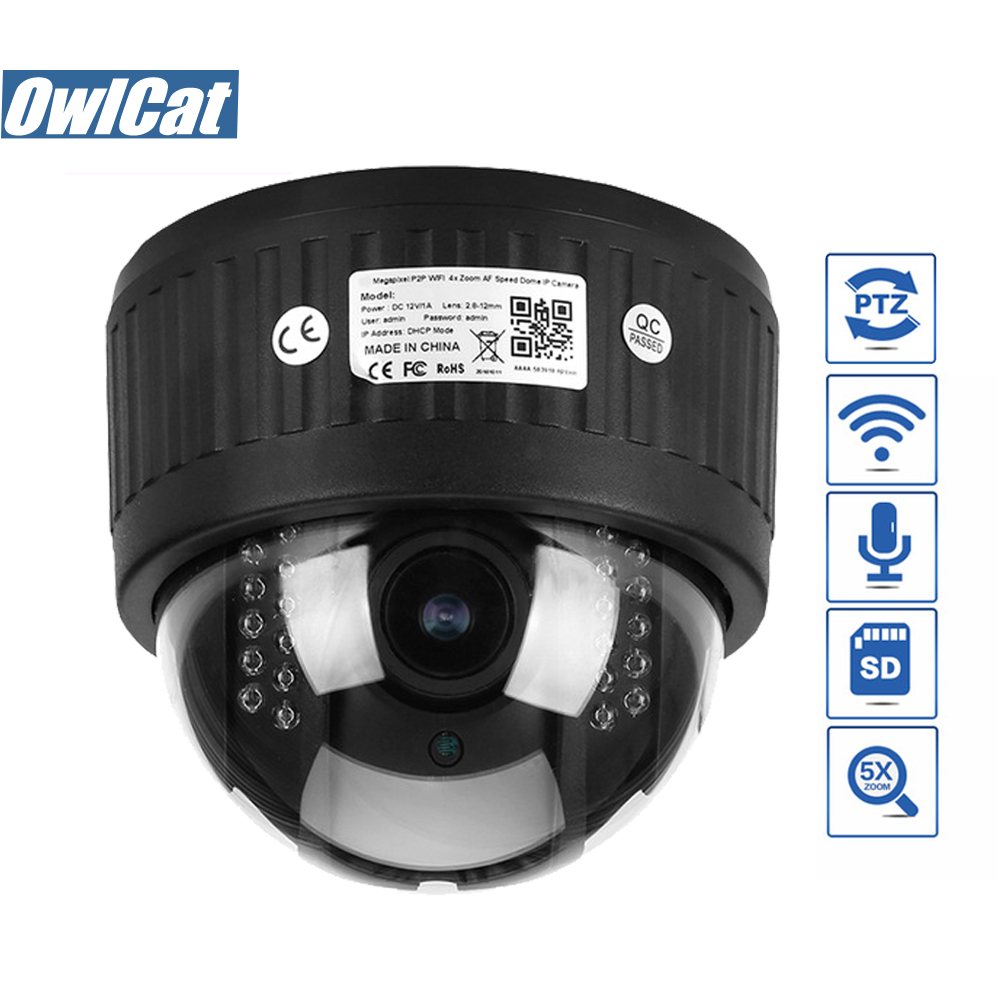 HD 960P 1080P Indoor Dome PTZ IP Camera Wifi 5X Zoom 2.7-13.5mm Len Audio Microphone 2MP IR Night Onvif SD Slot Wifi CCTV Camera owlcat hd 1080p dome ptz ip camera wifi 5x optical zoom audio microphone security cctv wifi camera sd slot ir night onvif2 4 p2p