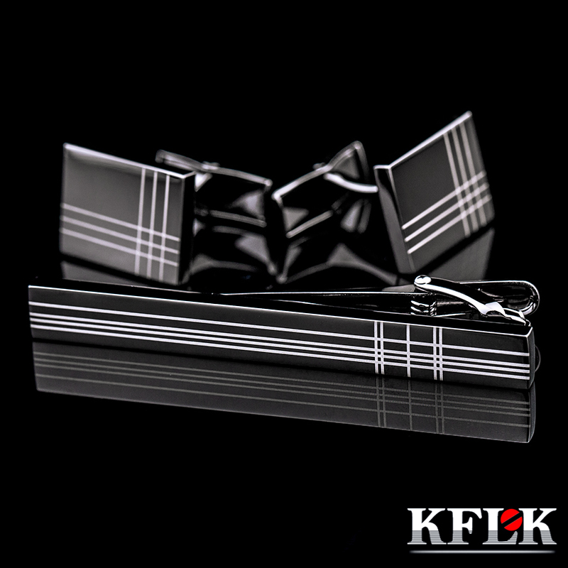 KFLK High Quality Cuff links necktie clip for tie pin for mens tie bars cufflinks tie clip set Free Shipping 2017 New Arrival off shoulder tie cuff solid sweatshirt