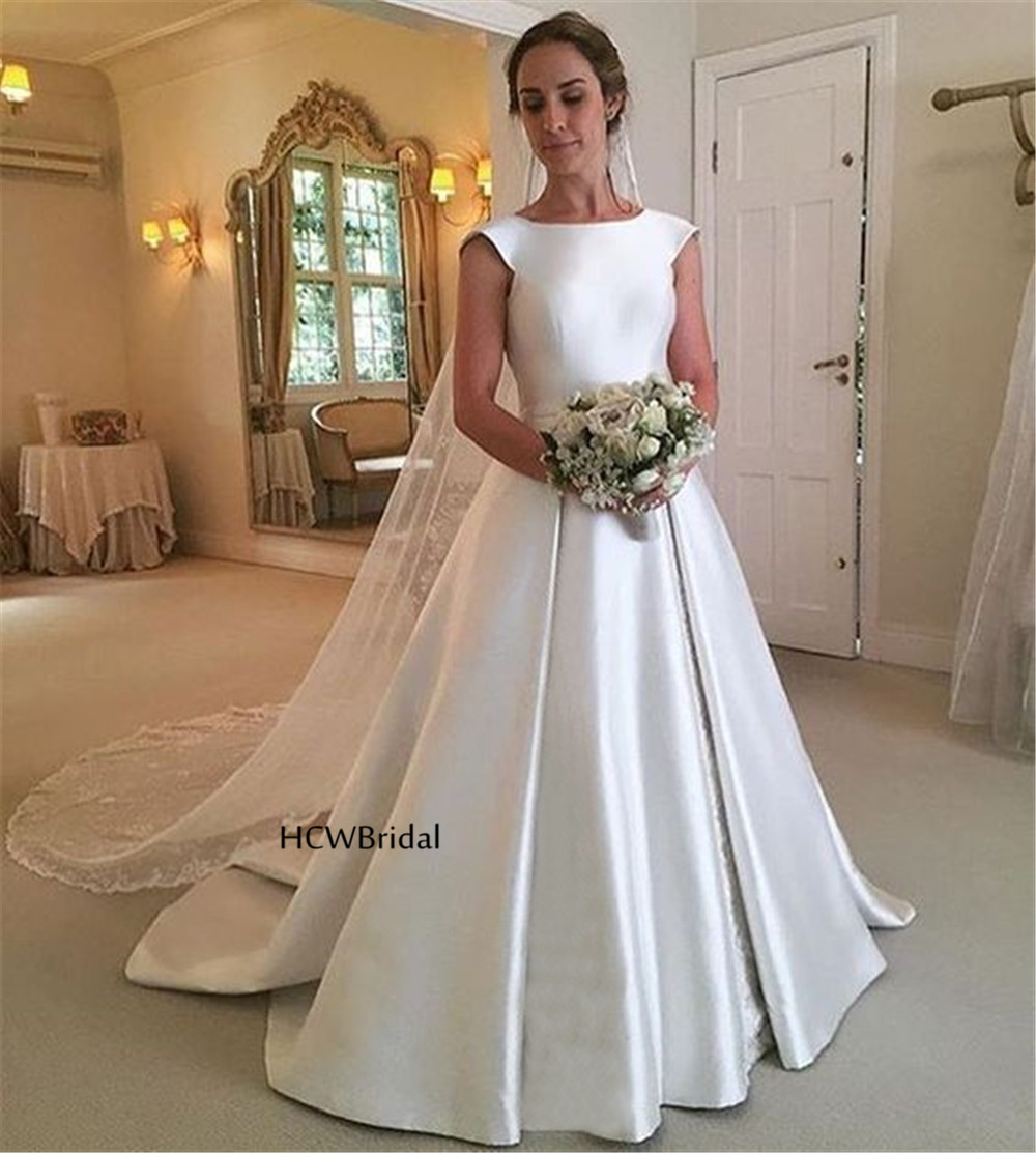 White Backless Satin Wedding Dresses 2019 Short Sleeve A