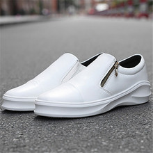 Free shipping New popular spring and autumn Increase high zipper casual leather shoes men shoes zapatos hombre