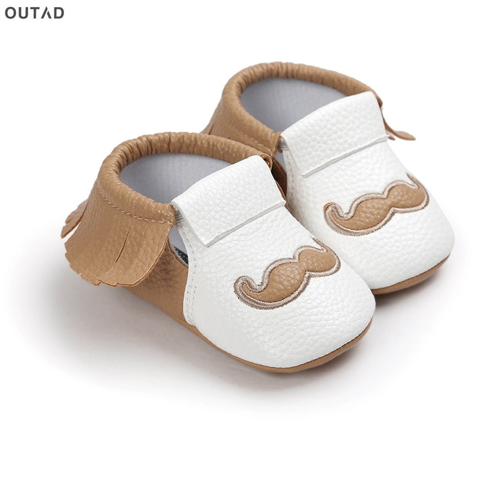 Tassel Mustache Print Newborn Shoes Infant Baby Boys Girls Shoes Anti-slip Soft Soles nfants Crib Shoes Sneakers First Walkers