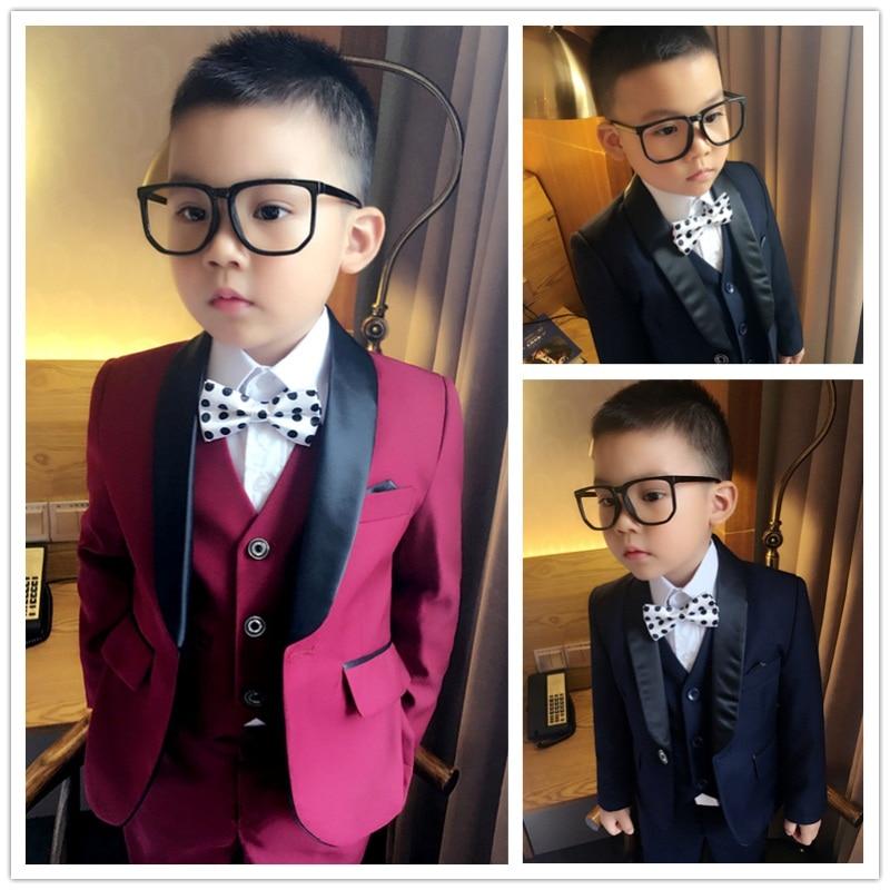 2017 (Jackets+Vest+Pants) Boy Suits Flower girl Slim Fit Tuxedo Brand Fashion Bridegroon Dress Wedding Red and Blue Suits Blazer