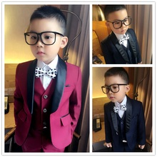 2018 (Jackets+Vest+Pants) Boy Suits Flower girl Slim Fit Tuxedo Brand Fashion Bridegroon Dress Wedding Red and Blue Suits Blazer