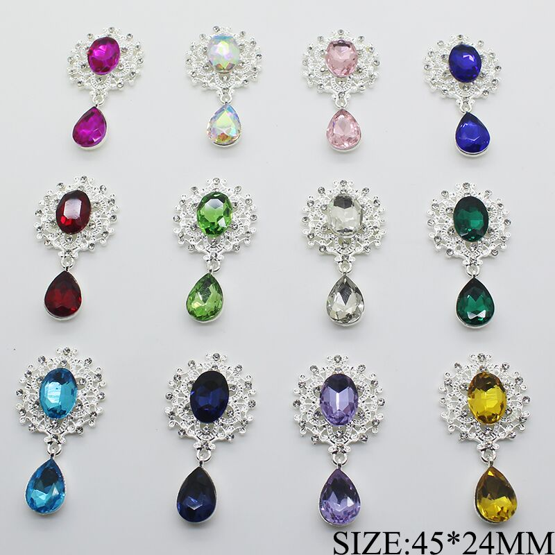 Wholesale 100pc New Mini Crystal Brooch Button 45x25mm Flat Back Wedding Holding Flowers Decoraation Diy Jewelry Accessories