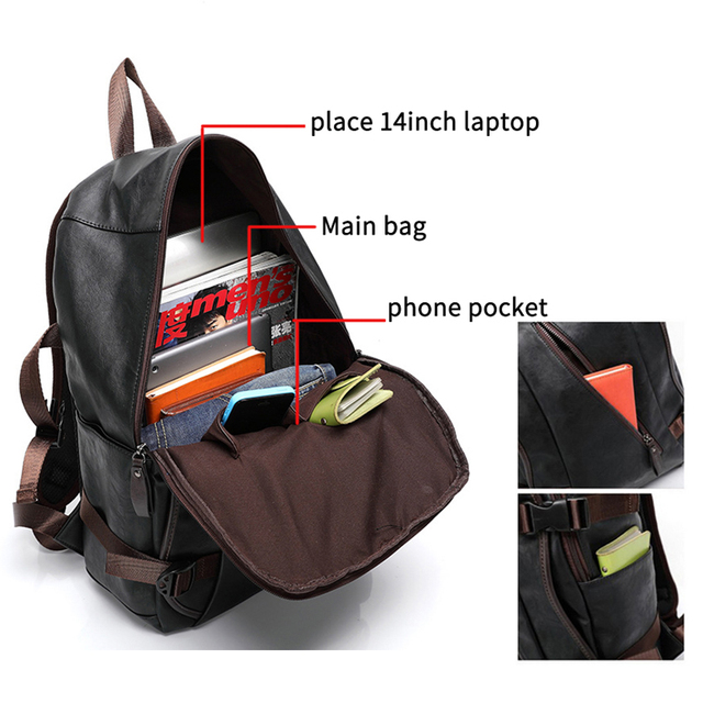 Vintage PU Leather Backpacks For Men College Bags School Travel Backpack Daypacks Mochila shoulder bag Man Backpacks laptop