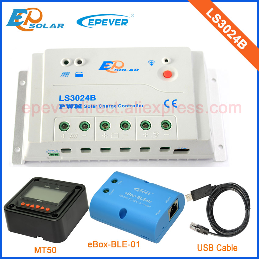 12v 24v EPsolar charging solar panel controller with BLE function LS3024B 30A USB cable and MT50 remote meter12v 24v EPsolar charging solar panel controller with BLE function LS3024B 30A USB cable and MT50 remote meter